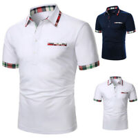 Men's Sport Shirts Short Sleeve Collar Basic Tee Casual Blouse Tops T-Shirt Golf