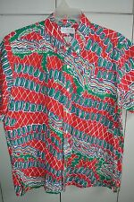 Fish Tales Collection Mens L  Christmas Wrasse Print on Red/Mint