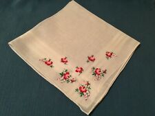 Vintage Rosebud White Hankie Embroidered