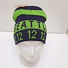 NFL Seattle Seahawks Blue & Lime Striped Knitted HAT, One Size, New w/Tags
