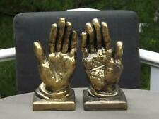 """Brass Praying Hands Bookends EXC 8 1/2""""H"""