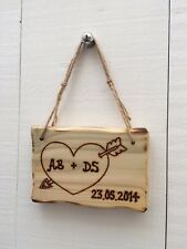Handmade Personalised Rustic Wooden Valentine's Day Anniversary Love Sign Plaque