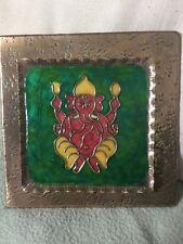 Émail et cuivre plaque depicting the indian éléphant dieu ganesha