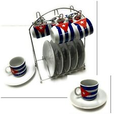 13 Pieces 2 oz Porcelain Espresso Coffee Set 6 Cups 6 Saucers With Steel Stand