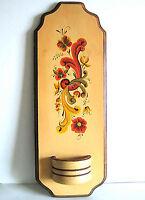 "Scandinavian Toleware Rosemal Wood Wall Pocket Plaque 19"" FREE SH"