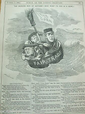 ANTIQUE PRINT 1884 PUNCH LONDON CHARIVARI THE MODERN MEN OF GOTHAM FAIR TRADE