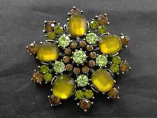 Vintage Snowflake Brooch Pin Brass Tone Metal Enamel Rhinestones Costume Jewelry