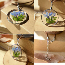 NEW Fashion Purple dried flowers Transparent Glass Necklace Pendant Jewelry