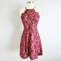 Charlotte Russe floral scalloped bib neck dress women's size small NWT