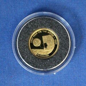 "1995 Cook Islands 1/25oz Gold coin ""Moonlanding"" in Capsule with COA"
