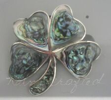 Pin/Brooch Abalone Shell Alpaca Four 4 Leaf Clover new