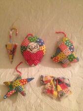 Lot VTG Gingam Patchwork Handmade Christmas Ornaments Noel Star Bell Bow Plush