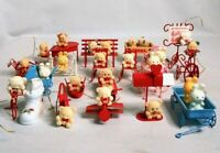 Vintage Avon Teddy Bear Ornament Lot Set: Christmas Easter Valentines Piano Sled