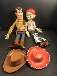 """Toy Story WOODY & JESSIE Pull-String 15"""" Doll Disney Pixar With Hats"""