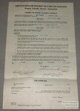 Orig. 1930-31 E.C.H.A. Joseph Banville Signed Contract