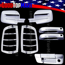 For RAM 1500 2009-2015 Chrome Covers Mirrors+2 Doors w/ KH+Tail Lights+Tailgate