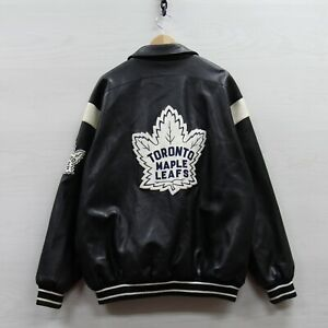 Toronto Maple Leafs G-III Carl Banks Pleather Bomber Jacket 2XL NHL Embroidered
