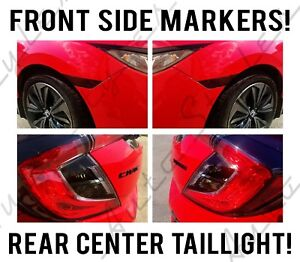 2017+ Fits Honda Civic Hatchback Smoked Side Markers Taillight 4 Piece Tint Kit!