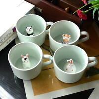 230ML Green Ceramic Milk Mug with Animals Cartoon Three-dimensional Coffee Cup