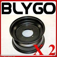 "2X Black 10"" Inch 90mm Hole 4 Stud Front Wheel Rim Quad Dirt Bike ATV Buggy"