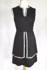 1950's VINTAGE Wiggle Wool Knit Cocktail Party Dress Peplum Rhinestone Trim S/M