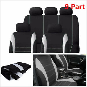 """9 Part Gray Car Seat Covers Set for Auto w/Steering Wheel/Belt Pad/Head Rests"