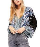 NWT-Free People Floral & Stripe Mix N Match Kimono Crop Top Black/multi Size:M
