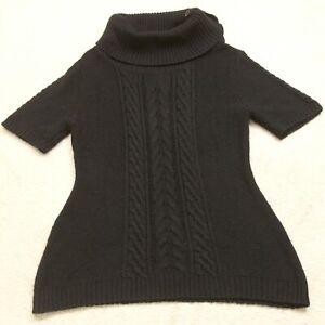 Great Northwest Black Short Sleeve Turtleneck Sweater Acrylic Blend Solid K8