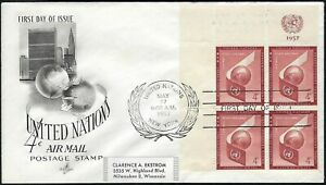 1955 UN AIR MAIL FDC - AIRPLANE WING & GLOBE BLOCK OF 4 - ART CRAFT CACHET!
