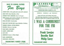 1951 Enosburg Falls VT Playhouse Movie Theater Program - I Was Communist For FBI