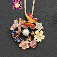 Betsey Johnson Butterfly Beetles Flower Pendant Chain Necklace/Brooch Pin Gift