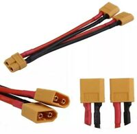 10cm XT60 Female To Dual Male Y Splitter Plug LIPO Battery Extension 14AWG Cable