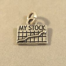 .925 Sterling Silver MY STOCK CHARM Wall Street Market Chart NEW 925 WK44