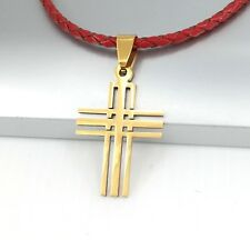 Gold Stainless Steel Matrix Celtic Cross Pendant Red Braided Leather Necklace