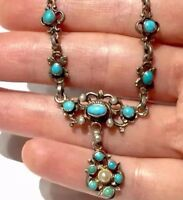 Victorian AUSTRO HUNGARIAN untreated Persian turquoise Seeds NECKLACE sterlng
