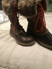 Boutique Duck Boots With Fur Accent, NWOB Size 10