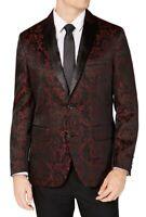 INC Mens Suit Seperate Black Size 2XL Slim Fit Blazer Jacquard Print $149 015