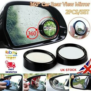 2 NEW Car Blind Spot Mirrors 360 Rotation Adjustable Wide Angle Convex Rear View