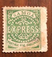British Samoa Stamp # 8 Stamp Unused LOG H $450