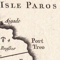 Carte Géographique XVIIIe Paros Cyclades Ile aux Lapins Grèce 1764 Πάρος Парос