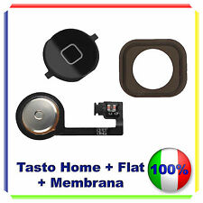 TASTO HOME BUTTON COMPLETO MEMBRANA FLAT FLEX  IPHONE 4S BOTTONE NERO BLACK