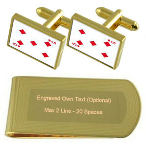 Diamond Playing Card Number 5 Gold-Tone Cufflinks Money Clip Engraved Gift Set