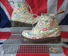Rare Liberty London*Girls Floral Dr Doc Martens*White Ditzy Flowers*Childrens*12