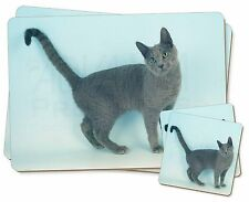 Russian Blue Cat Twin 2x Placemats+2x Coasters Set in Gift Box, AC-108PC