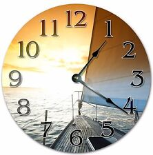 """10.5"""" BOAT ON A SUNSET - SUNSET CLOCK - Large 10.5"""" Wall Clock - Home Décor 4001"""