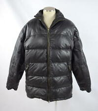 ROUNDTREE & YORKE Black Leather & Down Puffer Bomber Jacket Heavy Winter Coat M