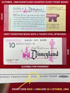 1968 Disneyland TICKET Book A - E MAGIC KEY COUPON Adult Book 2 Tickets Left  B6