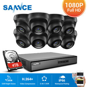 SANNCE 1080p CCTV Camera System 8CH DVR Dome Outdoor Home Security IP66 Night UK