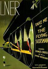 POSTER Artistico da viaggio la Flying Scotsman Kings Cross Rail