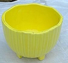 "MCP 612 ceramic pottery planter/bowl yellow ribbed octagon 4 feet USA. 5"" x 4"""
